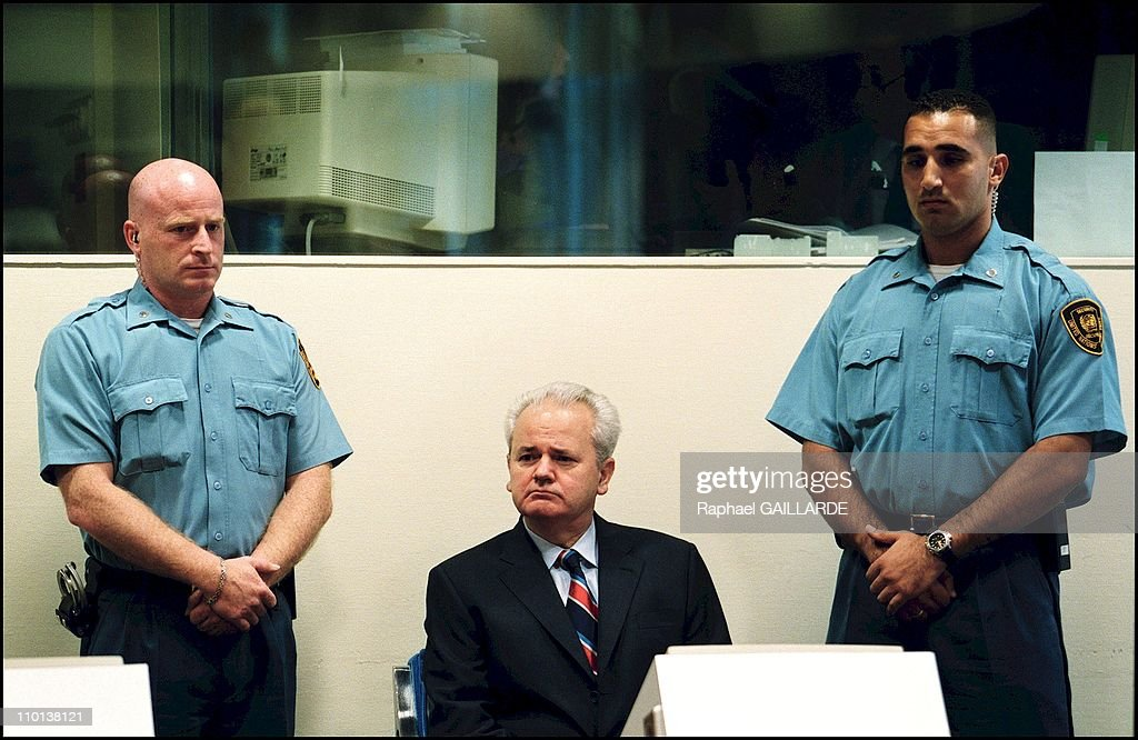<a gi-track='captionPersonalityLinkClicked' href=/galleries/search?phrase=Slobodan+Milosevic&family=editorial&specificpeople=206908 ng-click='$event.stopPropagation()'>Slobodan Milosevic</a> refuses the presence of any lawyer during his initial hearing of Thursday before the ICTY in The Hague, Netherlands on July 03, 2001.