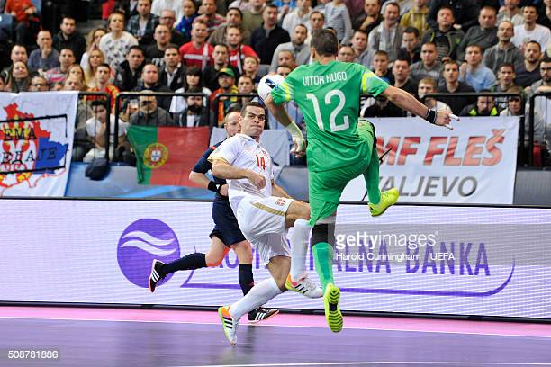 Slobodan Rajcevic of Serbia and Vitor Hugo of Portugal in action during the UEFA Futsal EURO 2016 match between Portugal and Serbia at Arena Belgrade...