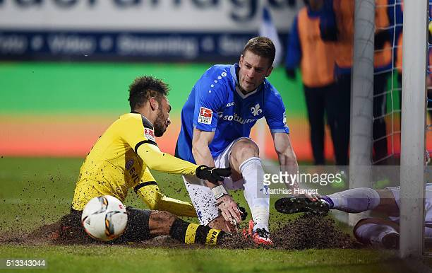 Slobodan Rajkovic of Darmstadt block a ball of PierreEmerick Aubameyang of Dortmund during the Bundesliga match between SV Darmstadt 98 and Borussia...