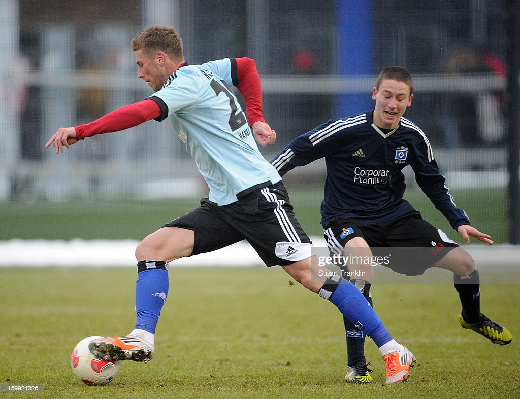 Slobodan Rajkovic of Hamburg (light blue shirt) in action during a training session of Hamburg SV on January 23, 2013 in Hamburg, Germany.