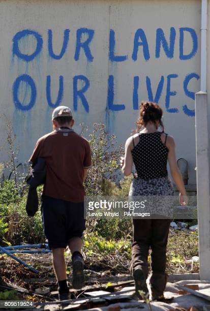 A slogan on a wall at the Dale Farm travellers site at Cray's Hill near Basildon Essex where bailiffs will later this morning begin to forcibly eject...