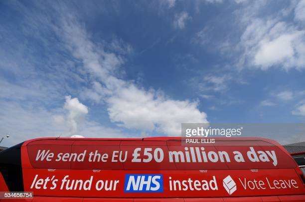 The 'Vote Leave' battlebus the official 'Leave' campaign organisation for the forthcoming EU referendum is pictured outside Singleton's Dairy in...