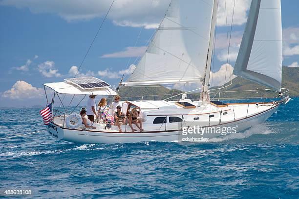 sloop sailing between US and British Virgin Islands
