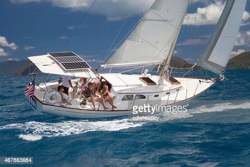 sloop under full sails sailing through the US Virgin Islands