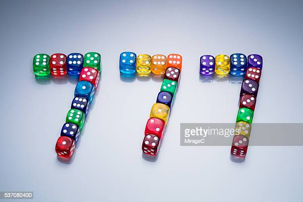 Slot Machine Lucky Triple 7 Consists of Colorful Dices