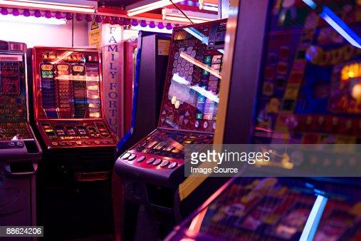Slot machines in amusement arcade