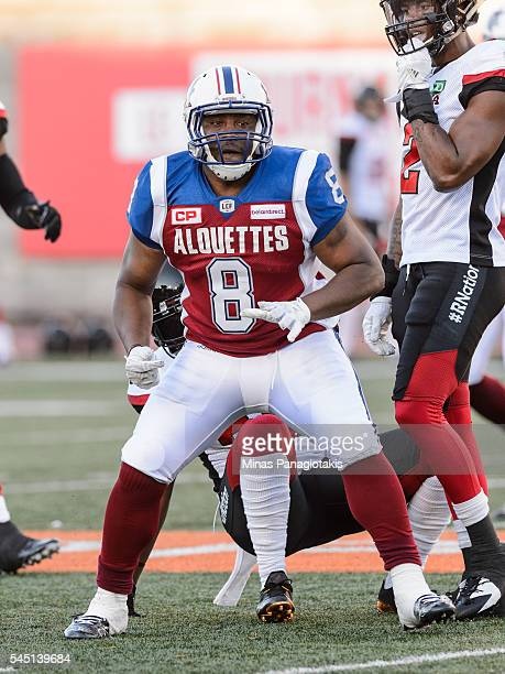 Slotback Nik Lewis of the Montreal Alouettes looks on during the CFL game against the Ottawa Redblacks at Percival Molson Stadium on June 30 2016 in...