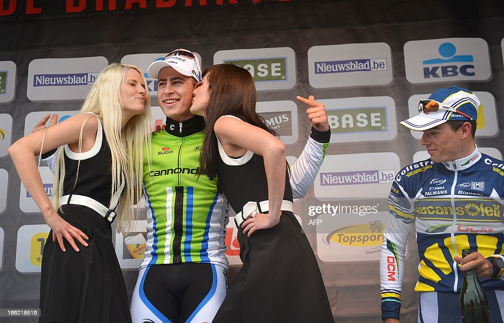 Slovak Peter Sagan (2nd L) of Liquigas-Cannondale stands on April 10, 2013 on the podium after winning the 53rd edition of the Brabantse Pijl one-day cycling race, 200 kms from Leuven to Overijse, ahead of third-placed Belgian Bjorn Leukemans (R) of team Vacansoleil-DCM. AFP PHOTO / BELGA / DAVID STOCKMAN - BELGIUM OUT -