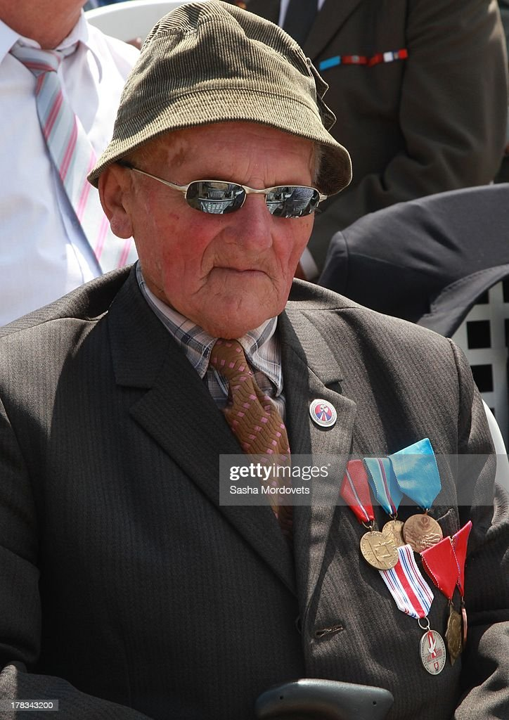 A Slovak WWII veteran attends the 69th anniversary celebrations of the Slovak National Uprising on August 29, 2013 in Banska Bystrica, Slovakia. Romanian President Traian Basescu is on an official two-day visit to Slovakia.