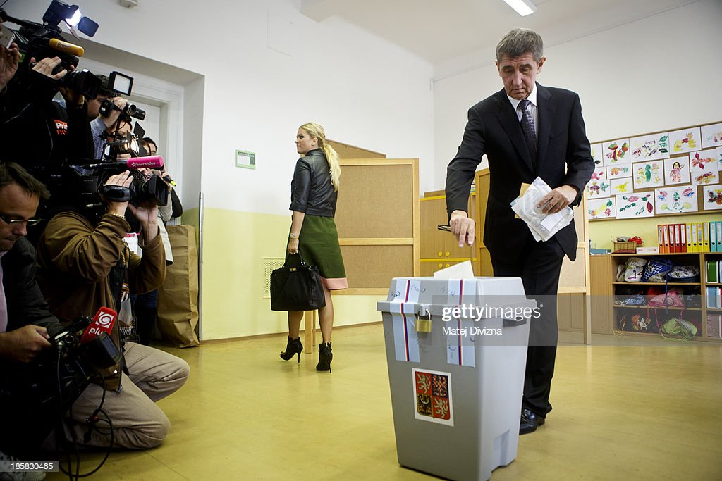 Slovak-born billionaire and leader of ANO movement Andrej Babis casts his ballot during the first day of the Czech early election on October 25, 2013 in Prague, Czech Republic. This early election is being held due to the resignation of former Prime Minister Petr Necas following a corruption scandal involving his chief-of-staff in June 2013. Eight million Czech citizens are expected to turn out to vote for 23 parties and movements across the country.