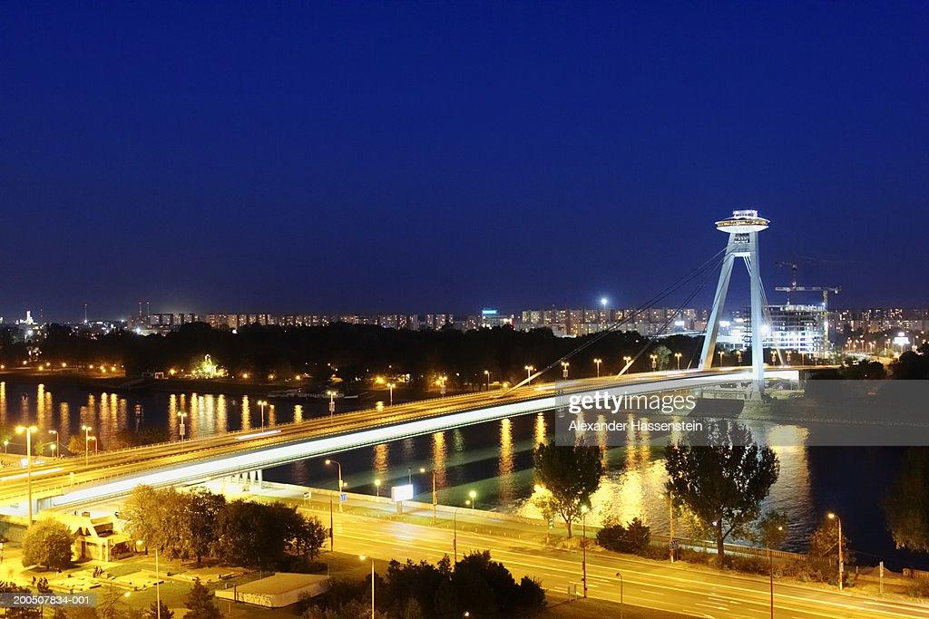 Slovakia, Bratislava, bridge, night (long exposure) : Stock Photo