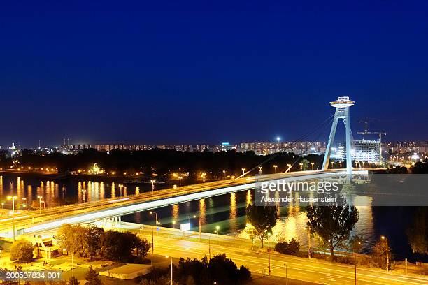 Slovakia, Bratislava, bridge, night (long exposure)