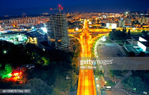 Slovakia, Bratislava, city traffic at night, elevated view (long exposure) : Stock Photo