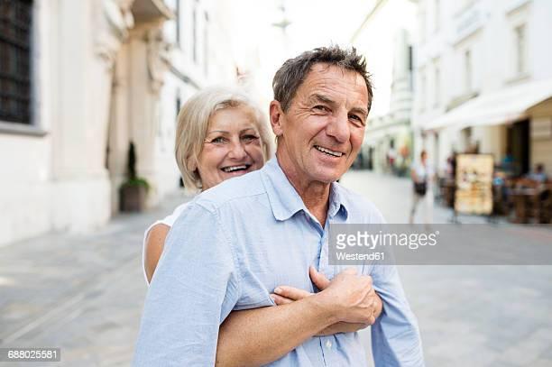 Slovakia, Bratislava, portrait of happy senior couple