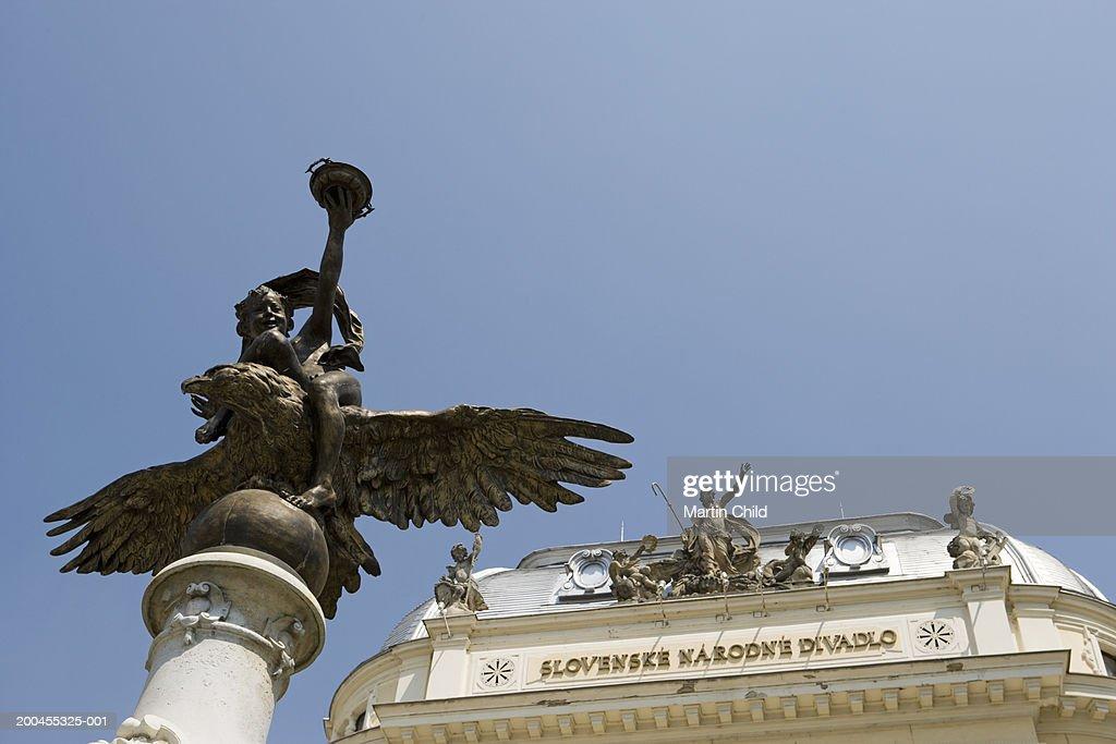 Slovakia, Bratislava, Slovak National Theatre and Ganymede's Fountain : Stock Photo