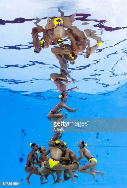 Slovakia compete during the Synchronised Swimming Team Free preliminary round on day six of the Budapest 2017 FINA World Championships on July 19...