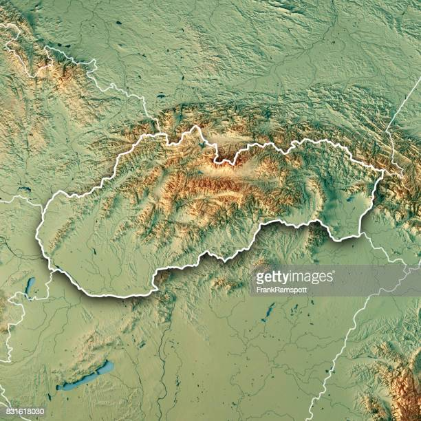 Slovakia Country 3D Render Topographic Map Border