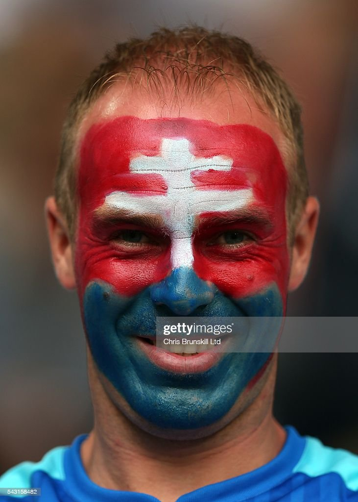 A Slovakia fan looks on during the UEFA Euro 2016 Round of 16 match between Germany and Slovakia at Stade Pierre-Mauroy on June 26, 2016 in Lille, France.