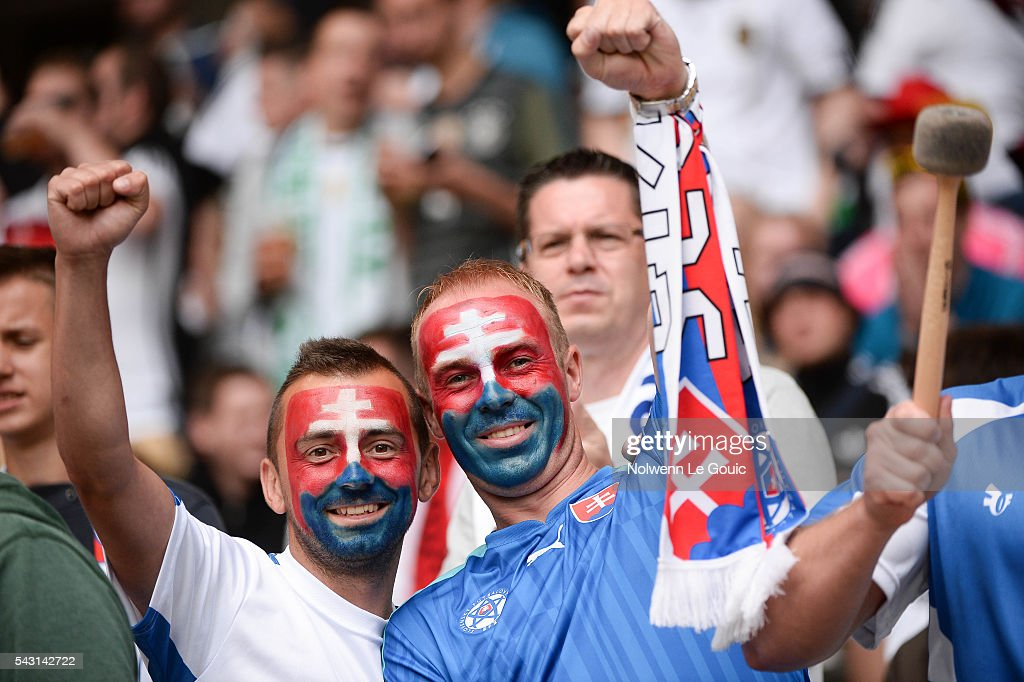 Slovakia fans during the European Championship match Round of 16 between Germany and Slovakia at Stade Pierre-Mauroy on June 26, 2016 in Lille, France.