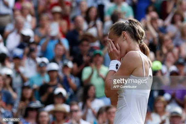 Slovakia Magdalena Rybarikova celebrates beating Czech Republic's Karolina Pliskova in their women's singles second round match on the fourth day of...
