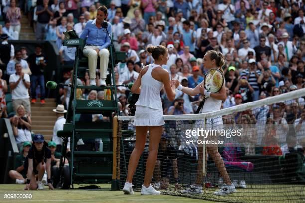 Slovakia Magdalena Rybarikova shakes hands with Czech Republic's Karolina Pliskova at the net after Rybarikova won their women's singles second round...