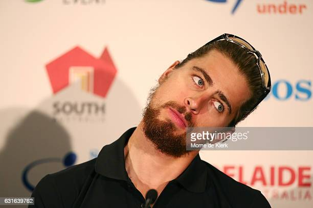 Slovakian cyclist Peter Sagan of the Bora Hansgrohe team look on during the press conference ahead of the 2017 Tour Down Under on January 14 2017 in...