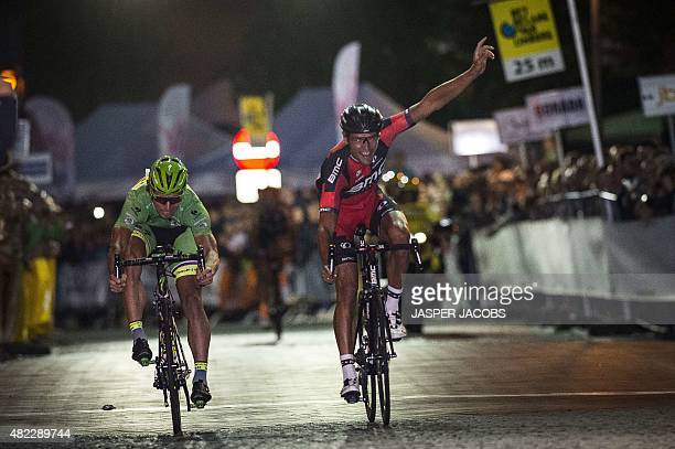 Slovakian cyclist Peter Sagan of TinkoffSaxo and Belgian cyclist Greg Van Avermaet of BMC Racing Team sprint to the finish during the 10th edition of...