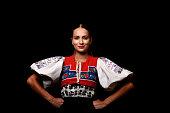 woman in slovakian folklore dancer dress