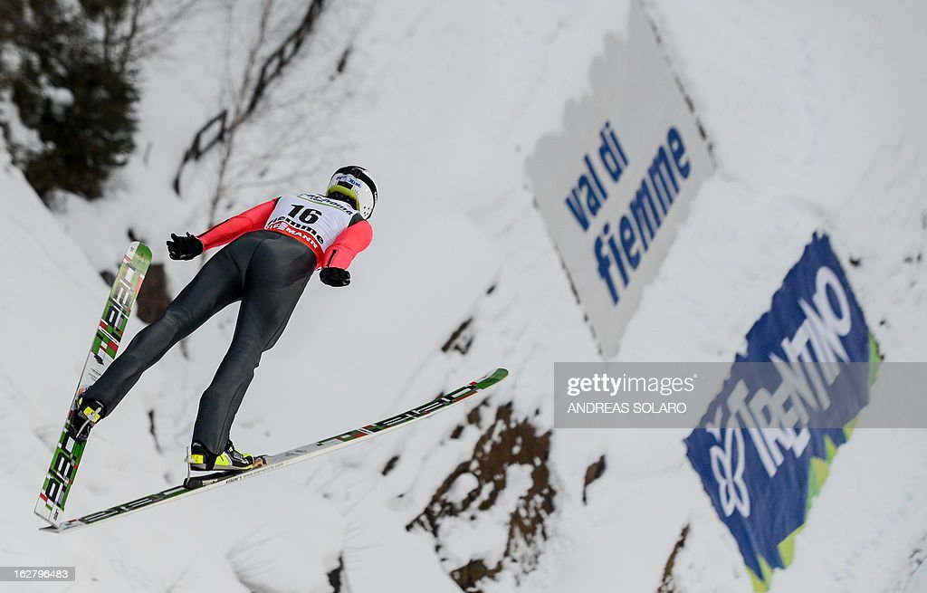 Slovakian Patrik Lichy soars through the air on February 27, 2013 during the Large Hill Individual qualification race of the FIS Nordic World Ski Championships at the Ski Jumping stadium in Predazzo, northern Italy.