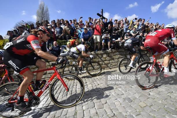 Slovakian Peter Sagan of BoraHansgrohe competes on the Muur of Geraardsbergen during the 101st edition of the 'Ronde van Vlaanderen Tour des Flandres...