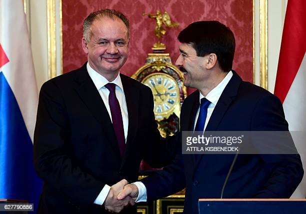 Slovakian President Andrej Kiska shakes hands with Hungarian counterpart Janos Ader in the Maria Theresia hall of the presidential palace in Budapest...