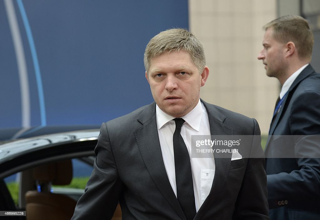 Slovakian Prime Minister <a gi-track='captionPersonalityLinkClicked' href=/galleries/search?phrase=Robert+Fico&family=editorial&specificpeople=555594 ng-click='$event.stopPropagation()'>Robert Fico</a> arrives for a European summit in Brussels on March 20, 2015. . AFP PHOTO / THIERRY CHARLIER
