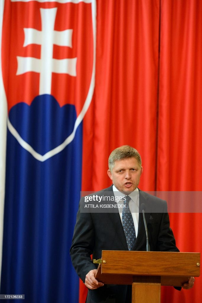 Slovakian Prime Minister Robert Fico gives his statement in Delegation Hall of the parliament building in central Budapest on July 2, 2013 during a press conference with his host Hungarian counterpart Viktor Orban (not pictured). Orban meets with Fico for his one-day working visit.