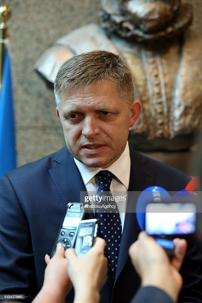 Slovakian Prime Minister Robert Fico speaks to media before attending the EU summit meeting on June 28, 2016 at the European Union headquarters in Brussels.