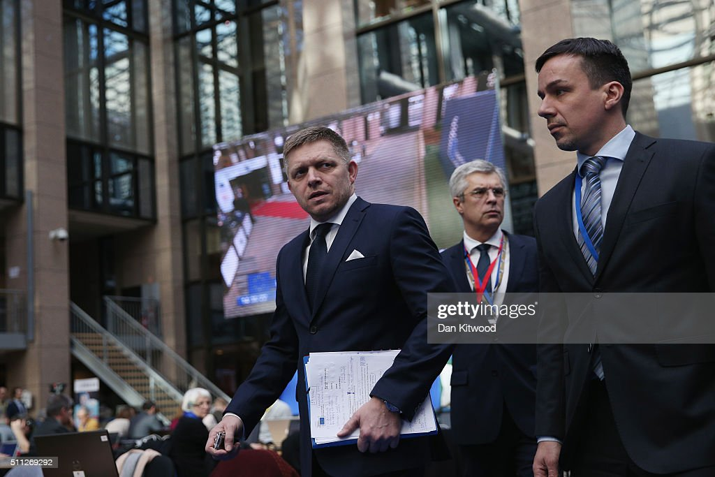 Slovakian Prime Minister <a gi-track='captionPersonalityLinkClicked' href=/galleries/search?phrase=Robert+Fico&family=editorial&specificpeople=555594 ng-click='$event.stopPropagation()'>Robert Fico</a> walks through the main atrium during the second day of the EU Summit as British Prime Minister David Cameron continues his attempts to negotiate new membership terms for the UK, on February 19, 2016 in Brussels, Belgium. Most of Europe's 28 member state leaders have gathered in Brussels to take part in a crucial summit and vote on British Prime Minister David Cameron's pledge to renegotiate the terms of Britain's membership in the EU, namely proposals to limit benefits for migrant workers. A referendum on whether Great Britain will stay in or leave the European Union is to be held before the end of 2017, though many expect it to take place in June this year. arrives during the second day of the EU Summit as British Prime Minister David Cameron continues his attempts to negotiate new membership terms for the UK, at the Council of the European Union on February 19, 2016 in Brussels, Belgium. Most of Europe's 28 member state leaders have gathered in Brussels to take part in a crucial summit and vote on British Prime Minister David Cameron's pledge to renegotiate the terms of Britain's membership in the EU, namely proposals to limit benefits for migrant workers. A referendum on whether Great Britain will stay in or leave the European Union is to be held before the end of 2017, though many expect it to take place in June this year.