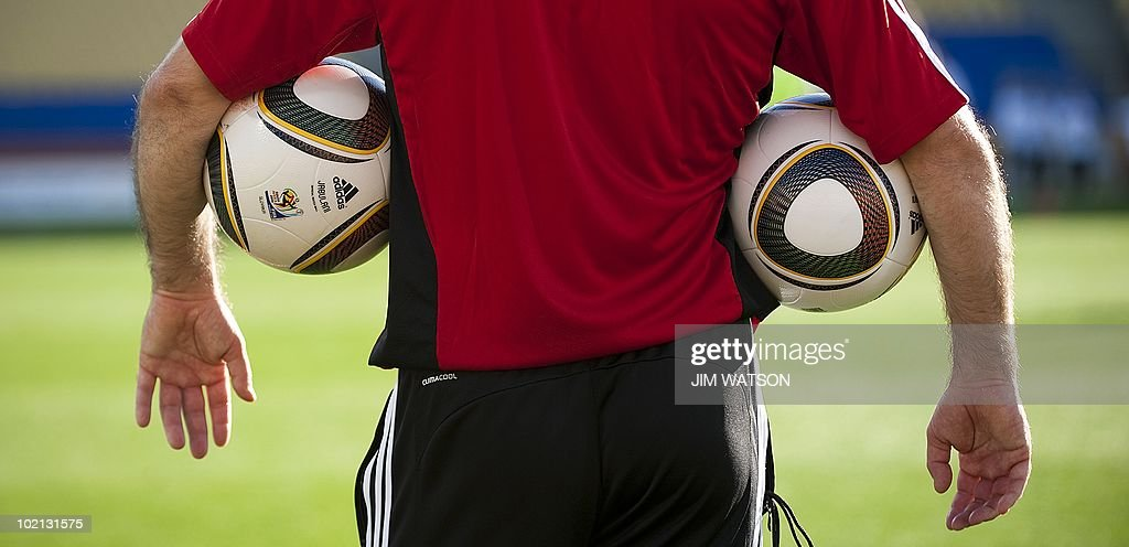 A Slovakian trainer looks on during their training at the Royal Bafokeng Stadium in Rustenburg, South Africa, June 14, 2010. The 2010 World Cup continues through July 11 in South Africa. AFP PHOTO/Jim WATSON