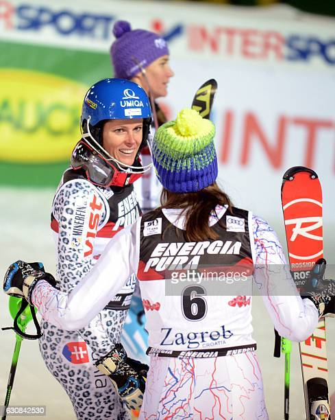 Slovakian Veronika Velez Zuzulova celebrates after her second run of the FIS slalom ski event on Sljeme mountain some 10 km from Zagreb on January 3...