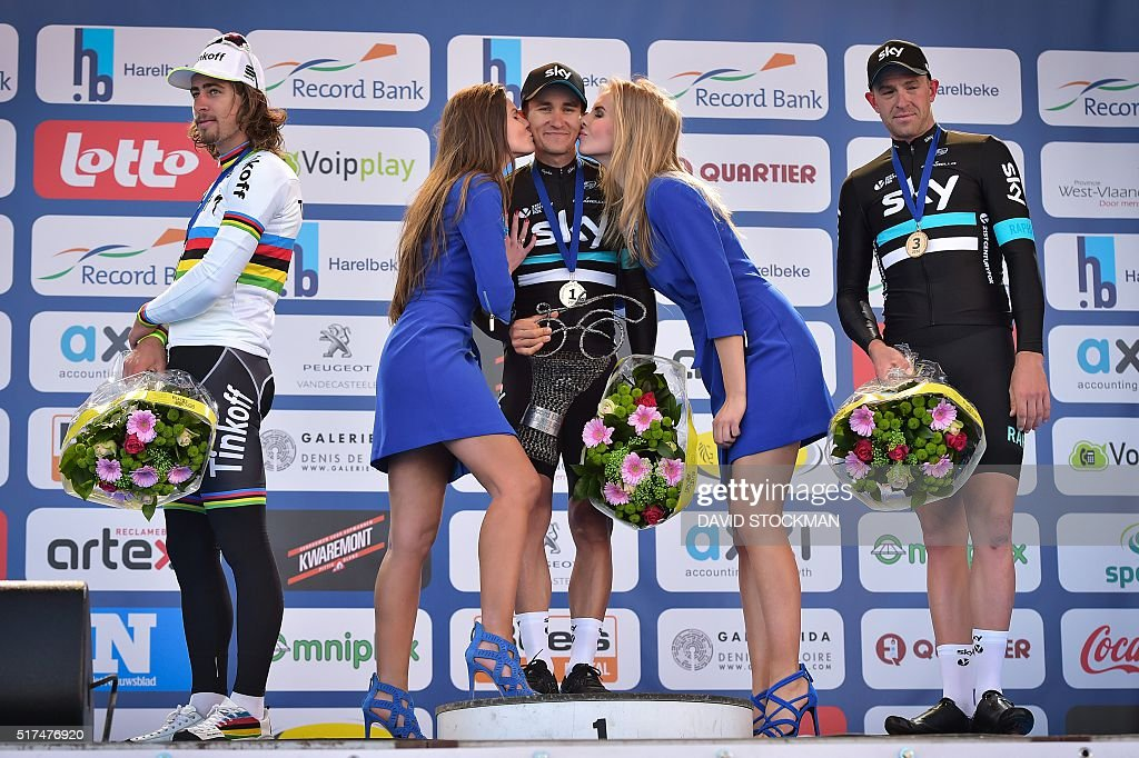 Slovakian world champion Peter Sagan of Tinkoff, Polish cyclist Michal Kwiatkowski of Team Sky and British cyclist Ian Stannard of Team Sky celebrate on the podium after the 59th edition of the 'E3 Prijs Vlaanderen Harelbeke' cycling race, 215,3km from and to Harelbeke, on March 25, 2016. / AFP / Belga / DAVID STOCKMAN / Belgium OUT