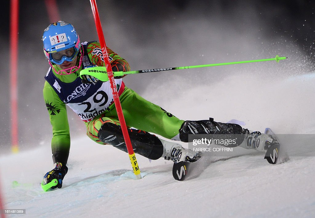 Slovakia's Adam Zampa competes in the slalom event of the men's super combined at the 2013 Ski World Championships in Schladming, Austria on February 11, 2013.
