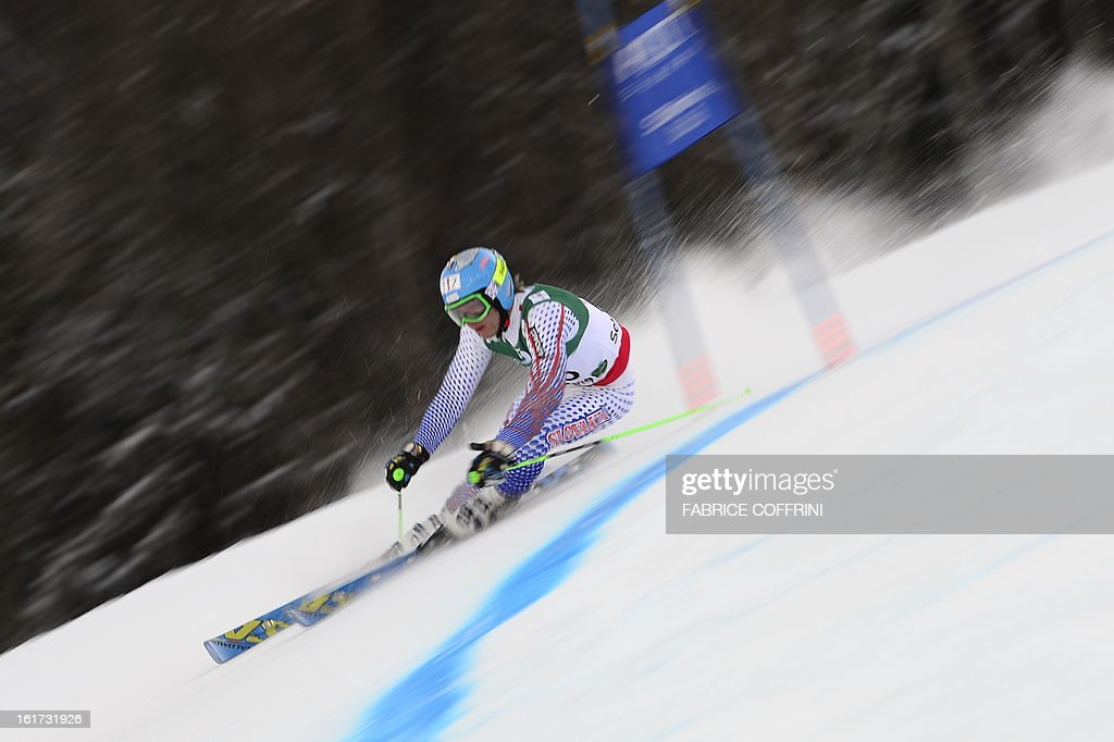 Slovakia's Adam Zampa skis during the first run of the men's Giant slalom at the 2013 Ski World Championships in Schladming, Austria on February 15, 2013. AFP PHOTO / FABRICE COFFRINI
