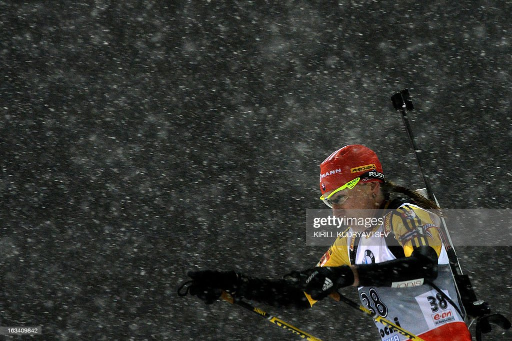 Slovakia's Anastasiya Kuzmina competes in Women 7.5 km Sprint during IBU World Cup Biathlon at Laura Cross Country and Biathlon Centre in the Russian Black Sea resort of Sochi on March 9, 2013. Poland's Magdalena Gwizdon took the first place ahead of Kuzmina and Norway's Tora Berger.