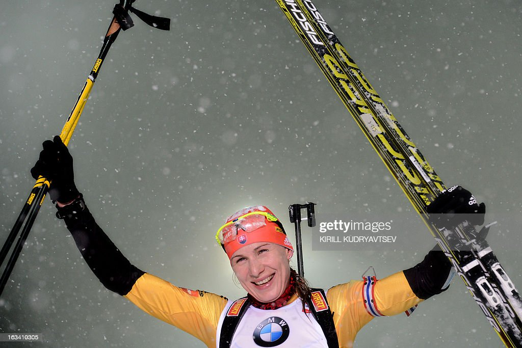 Slovakia's Anastasiya Kuzmina reacts after Women 7.5 km Sprint during IBU World Cup Biathlon at Laura Cross Country and Biathlon Centre in the Russian Black Sea resort of Sochi on March 9, 2013. Poland's Magdalena Gwizdon took the first place ahead of Kuzmina and Norway's Tora Berger.