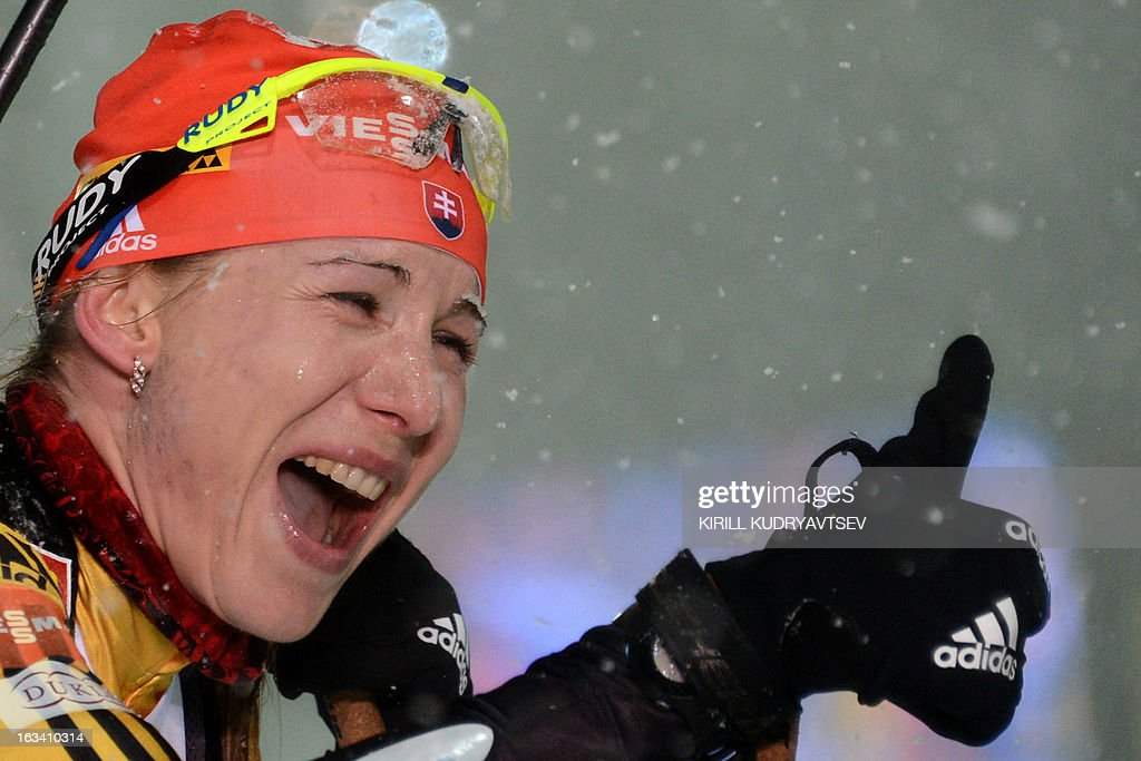 Slovakia's Anastasiya Kuzmina reacts after Women 7.5 km Sprint during IBU World Cup Biathlon at Laura Cross Country and Biathlon Centre in the Russian Black Sea resort of Sochi on March 9, 2013. Poland's Magdalena Gwizdon took the first place ahead of Slovakia's Anastasiya Kuzmina and Norway's Tora Berger.