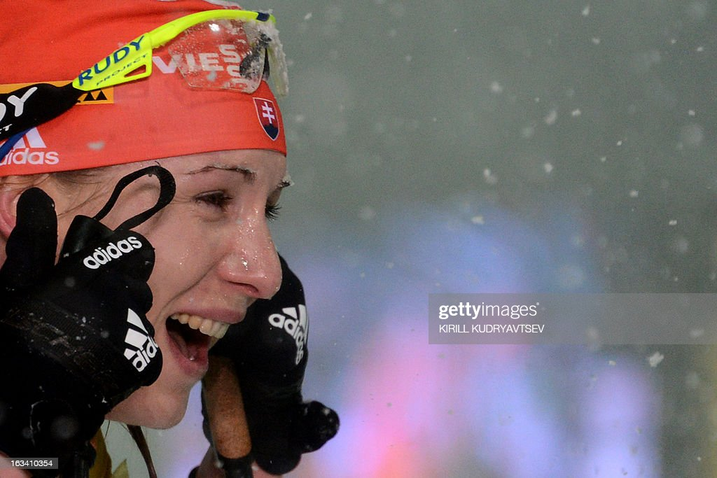 Slovakia's Anastasiya Kuzmina reacts after Women 7.5 km Sprint during IBU World Cup Biathlon at Laura Cross Country and Biathlon Centre in the Russian Black Sea resort of Sochi on March 9, 2013. Poland's Magdalena Gwizdon took the first place ahead ofKuzmina and Norway's Tora Berger.