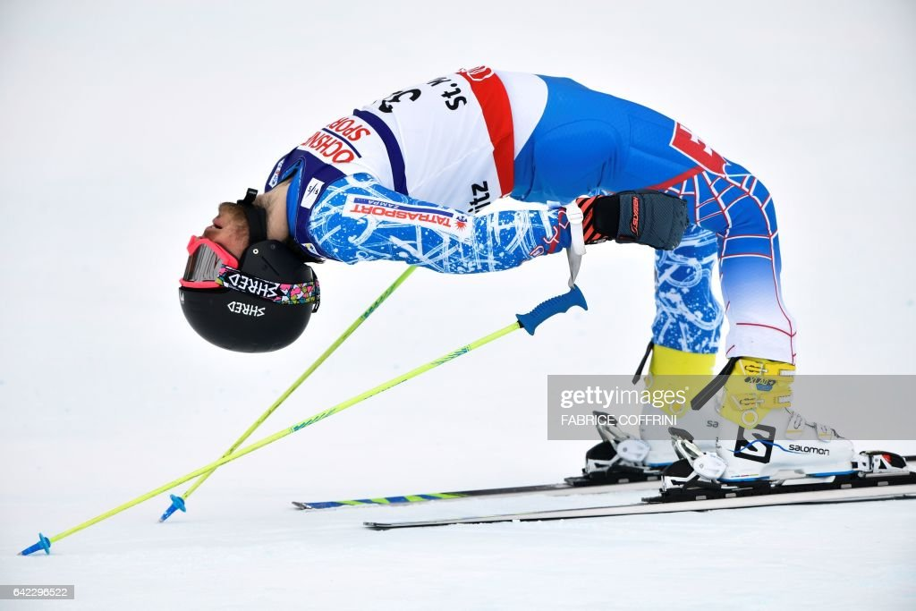 Slovakia's Andreas Zampa reacts in the finish area after the second run of the men's giant slalom race at the 2017 FIS Alpine World Ski Championships in St Moritz on February 17, 2017. / AFP PHOTO / Fabrice COFFRINI