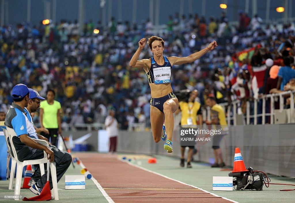 Slovakia's Dana Veldakova competes in the women's triple jump event at the Diamond League athletics competition at the Suhaim bin Hamad Stadium in Doha on May 6, 2016. / AFP / KARIM