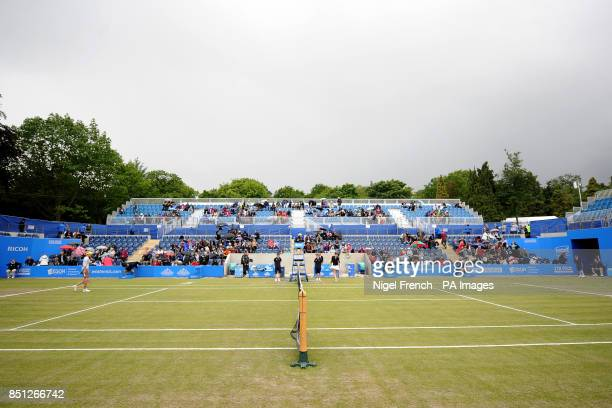 Slovakia's Daniela Hantuchova and USA's Alison Riske have to be called off court due to rain