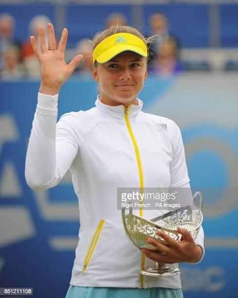 Slovakia's Daniela Hantuchova celebrates defeating Croatia's Donna Vekic during the AEGON Classic Final at Edgbaston Priory Birmingham