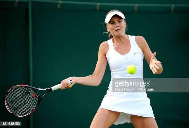 Slovakia's Daniela Hantuchova during her match against Russia's Aisa Kleybanova