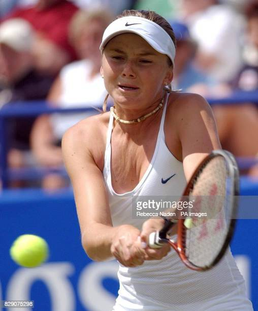 Slovakia's Daniela Hantuchova in action against Russia's Svetlana Kuznetsova during the final of the Hastings Direct International Championships at...